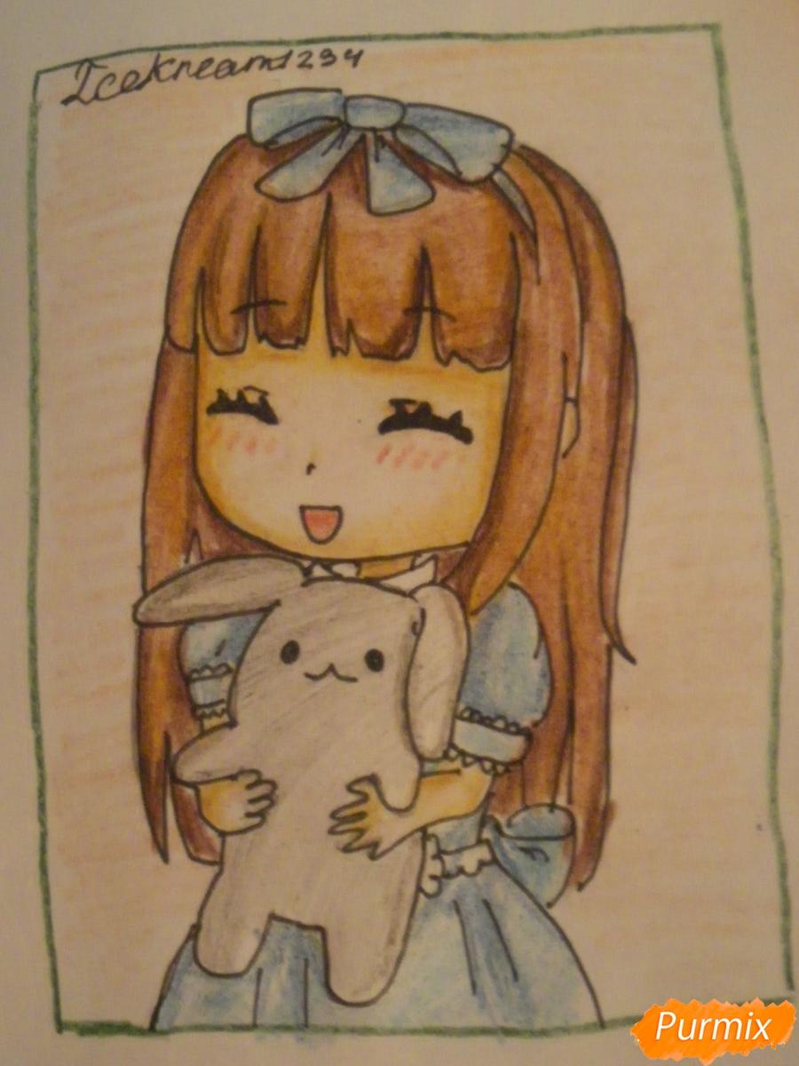 kak-narisovat-miluyu-chibi-devochku-s-plyushevym-zajkoj-pojetapno-12 Как нарисовать милую чиби девочку карандашом поэтапно