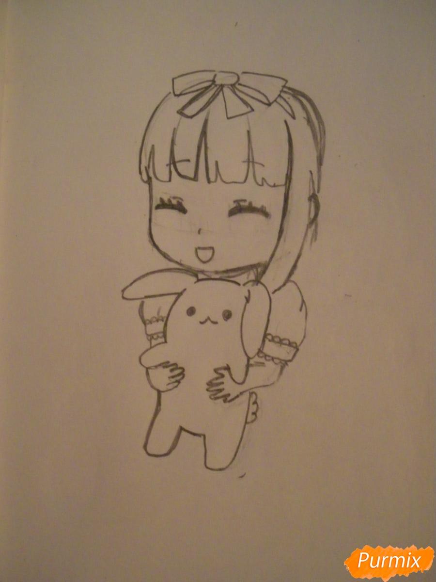 kak-narisovat-miluyu-chibi-devochku-s-plyushevym-zajkoj-pojetapno-5 Как нарисовать милую чиби девочку карандашом поэтапно