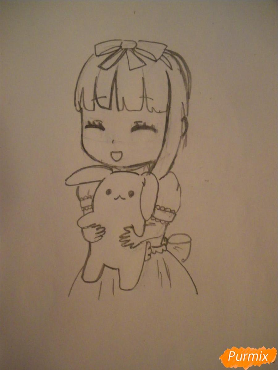 kak-narisovat-miluyu-chibi-devochku-s-plyushevym-zajkoj-pojetapno-6 Как нарисовать милую чиби девочку карандашом поэтапно