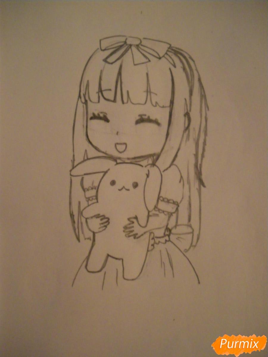 kak-narisovat-miluyu-chibi-devochku-s-plyushevym-zajkoj-pojetapno-7 Как нарисовать милую чиби девочку карандашом поэтапно