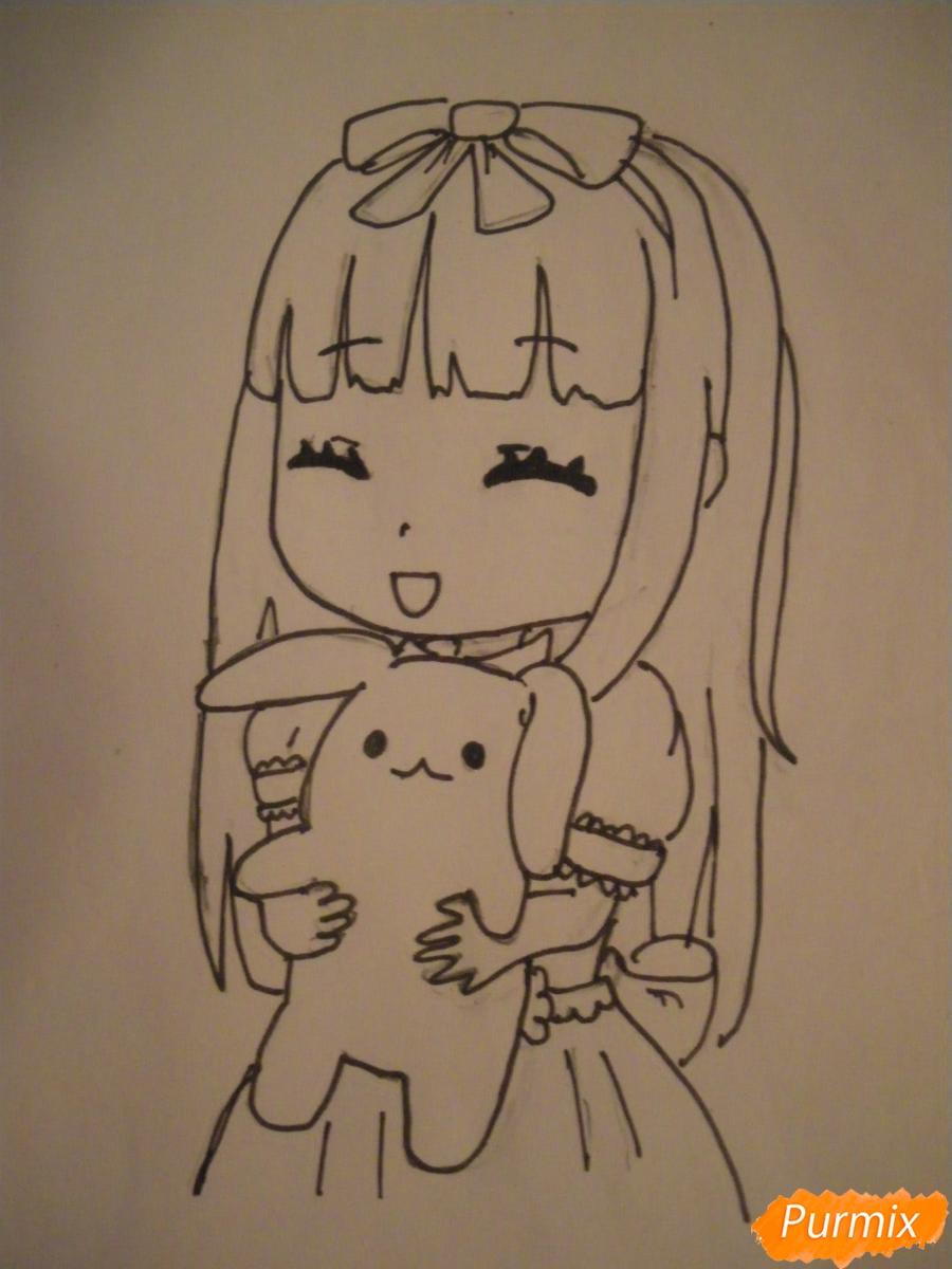 kak-narisovat-miluyu-chibi-devochku-s-plyushevym-zajkoj-pojetapno-8 Как нарисовать милую чиби девочку карандашом поэтапно