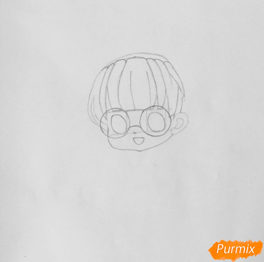 kak-narisovat-miluyu-chibi-devochku-v-ochkah-i-s-ledencom-v-ruke-pojetapno-3 Как нарисовать милую чиби девочку карандашом поэтапно