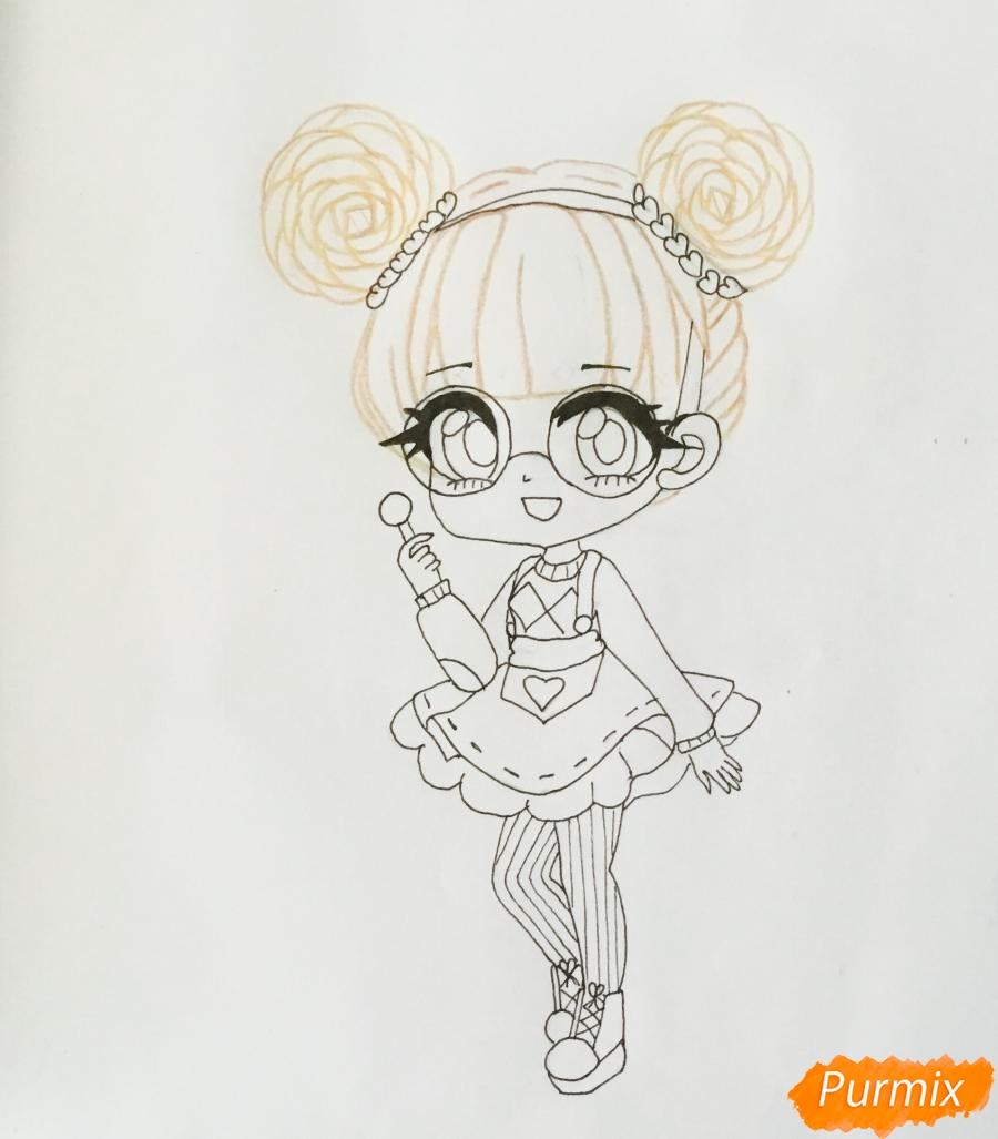 kak-narisovat-miluyu-chibi-devochku-v-ochkah-i-s-ledencom-v-ruke-pojetapno-7 Как нарисовать милую чиби девочку карандашом поэтапно