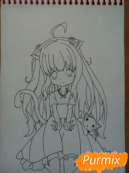 kak-narisovat-miluyu-chibi-tyan-cvetnymi-karandashami-pojetapno-10 Как нарисовать милую чиби девочку карандашом поэтапно