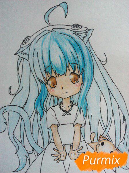 kak-narisovat-miluyu-chibi-tyan-cvetnymi-karandashami-pojetapno-14 Как нарисовать милую чиби девочку карандашом поэтапно