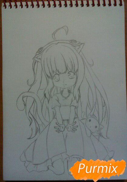 kak-narisovat-miluyu-chibi-tyan-cvetnymi-karandashami-pojetapno-9 Как нарисовать милую чиби девочку карандашом поэтапно