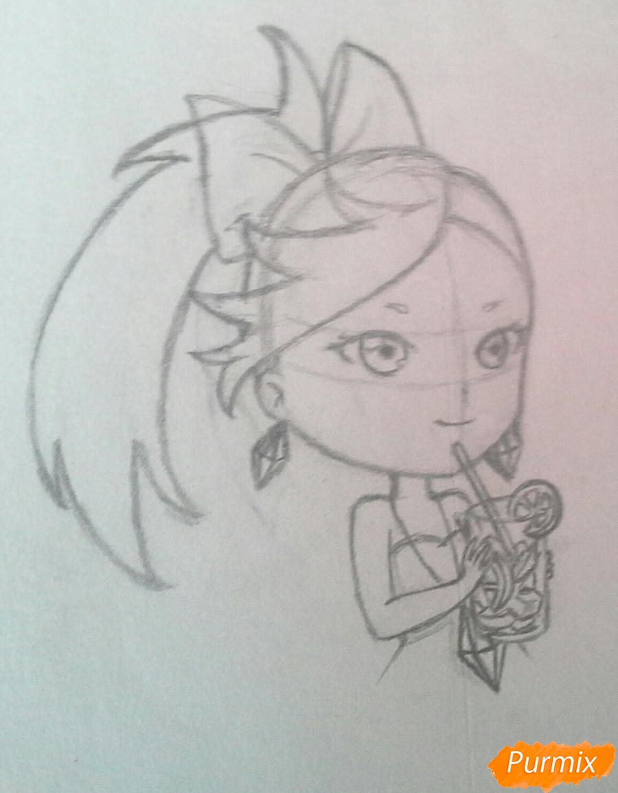 Рисуем Мохито-тян в стиле чиби карандашами - шаг 12