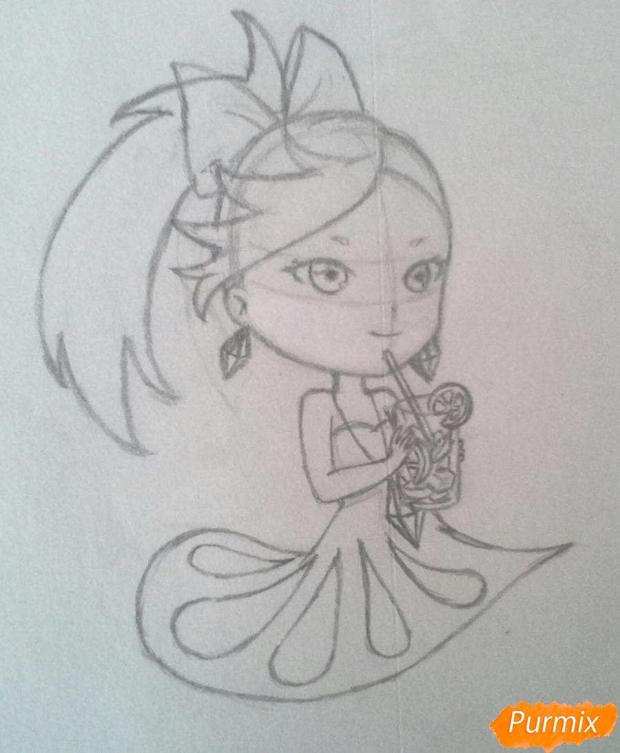 Рисуем Мохито-тян в стиле чиби карандашами - шаг 13