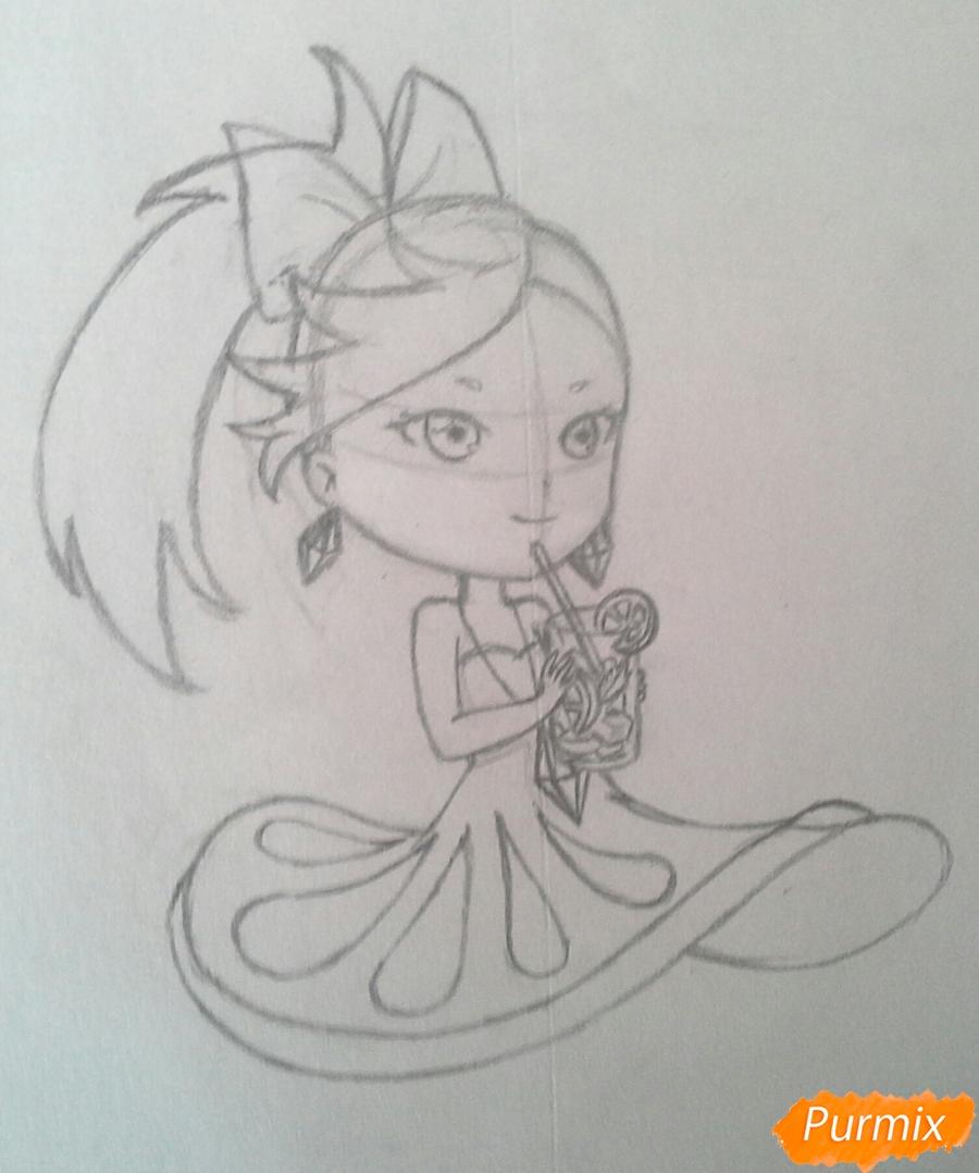 Рисуем Мохито-тян в стиле чиби карандашами - шаг 14