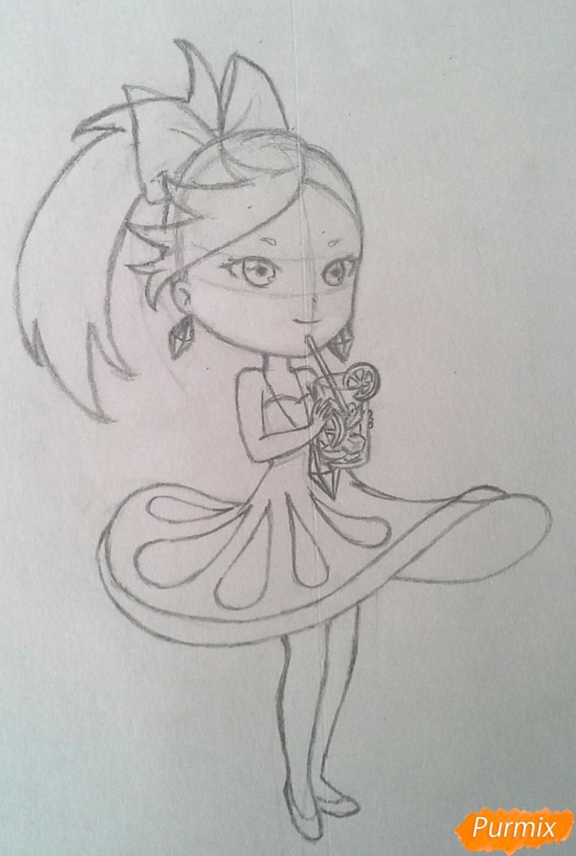 Рисуем Мохито-тян в стиле чиби карандашами - шаг 15