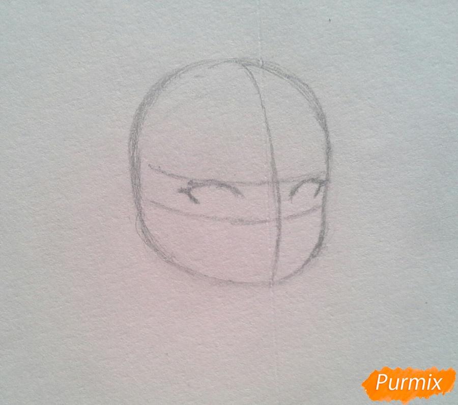Рисуем Мохито-тян в стиле чиби карандашами - шаг 2