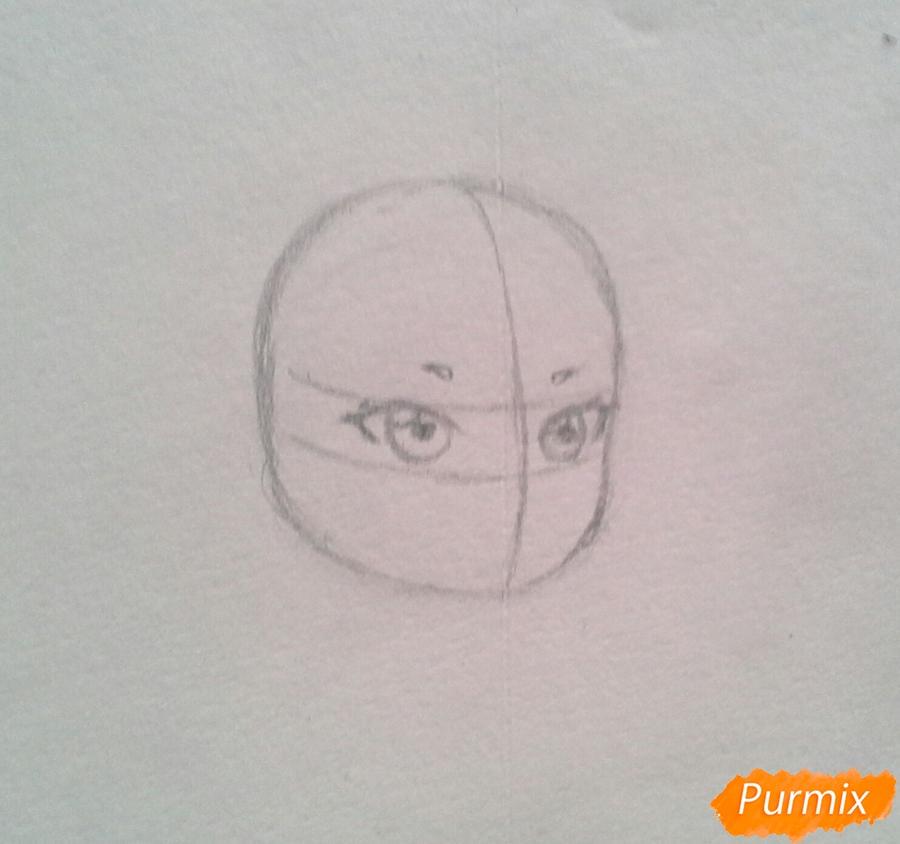 Рисуем Мохито-тян в стиле чиби карандашами - шаг 3