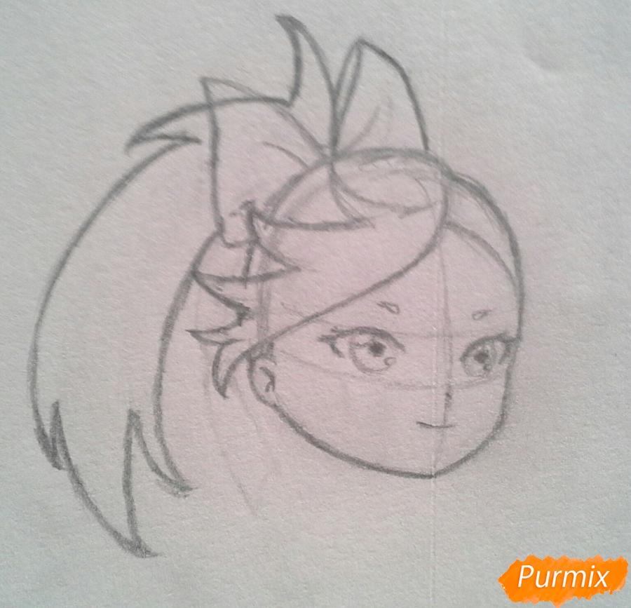 Рисуем Мохито-тян в стиле чиби карандашами - шаг 8