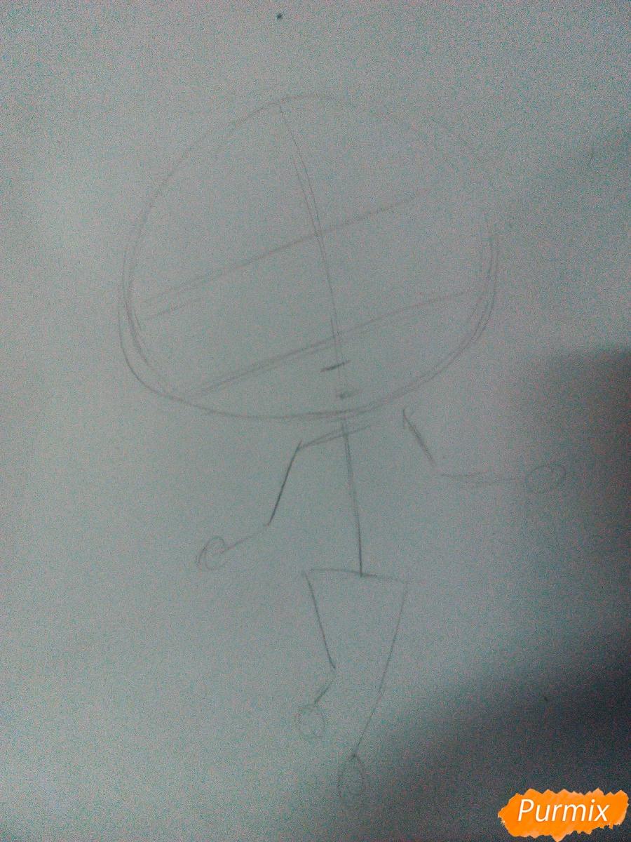 Рисуем Моку Акасию в стиле чиби карандашами - шаг 1