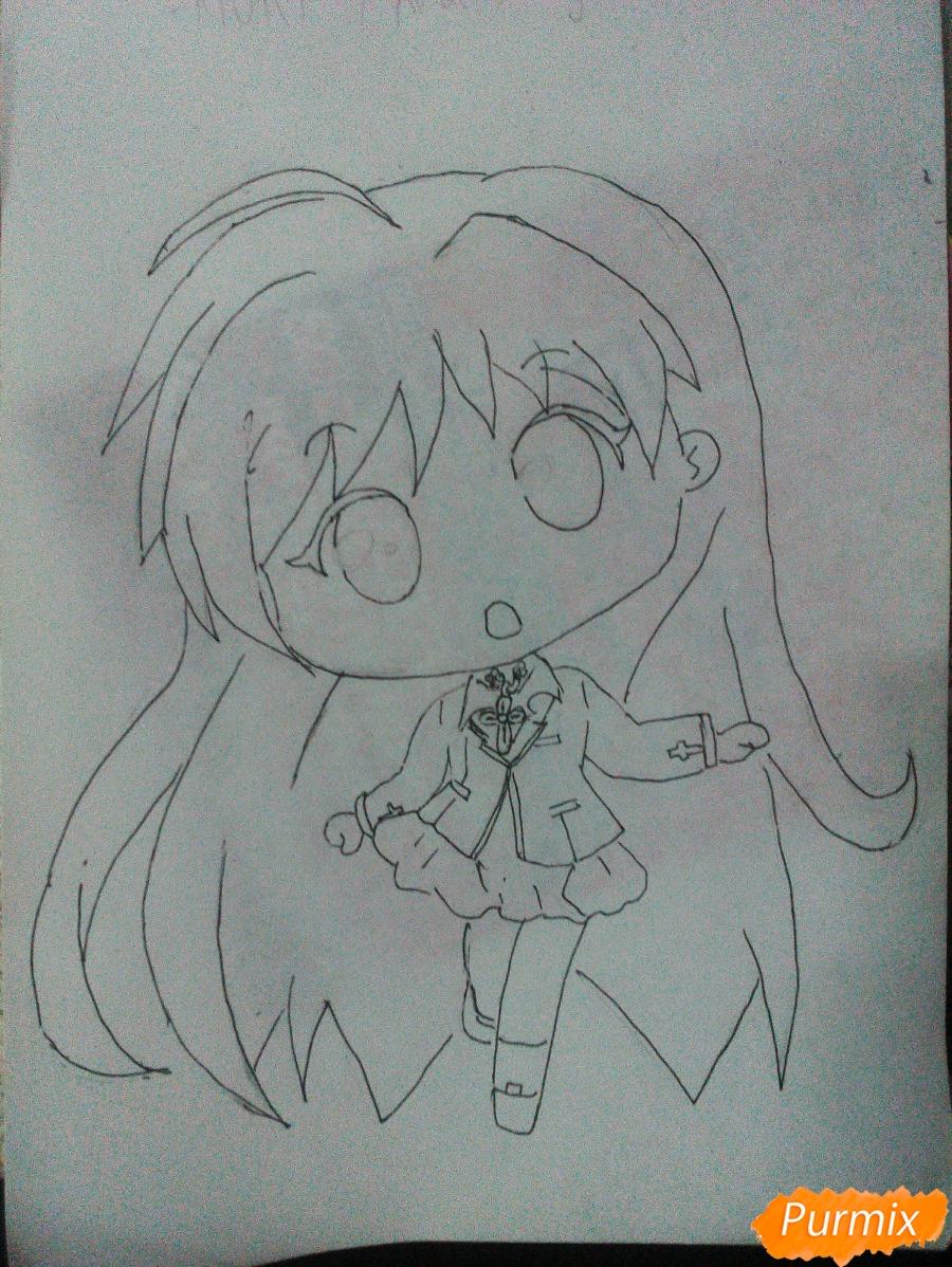 Рисуем Моку Акасию в стиле чиби карандашами - шаг 5
