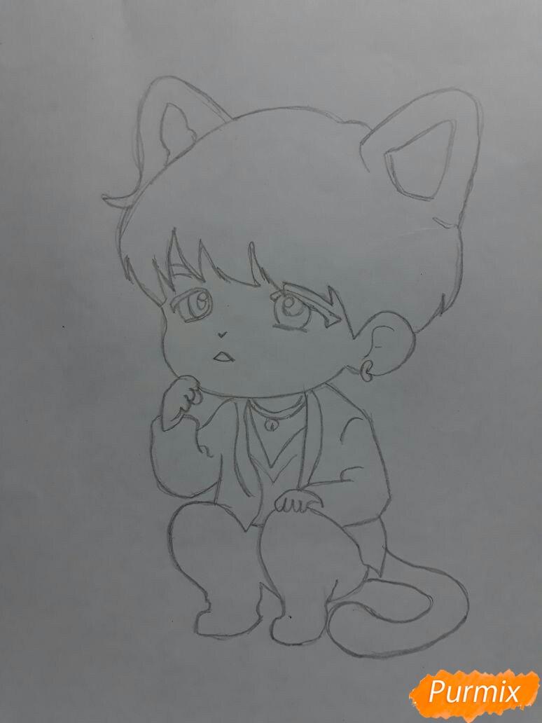 Рисуем неко-чиби мальчика цветными карандашами - шаг 2