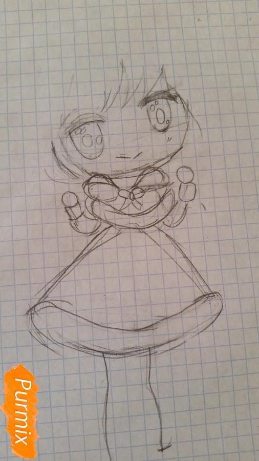 Рисуем новогоднюю чиби девочку - шаг 2