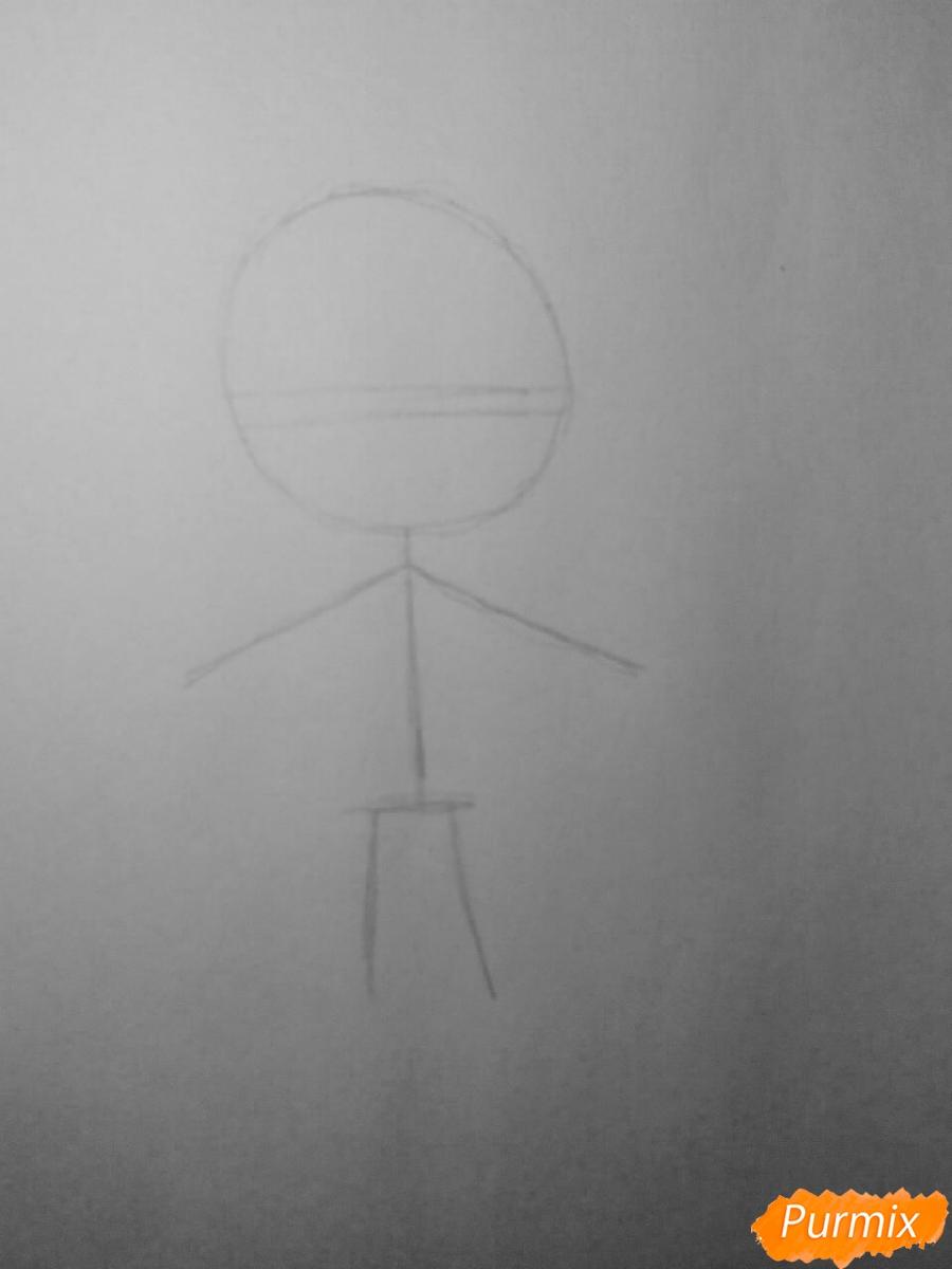 Рисуем Райто Сакамаки в стиле чиби - шаг 1