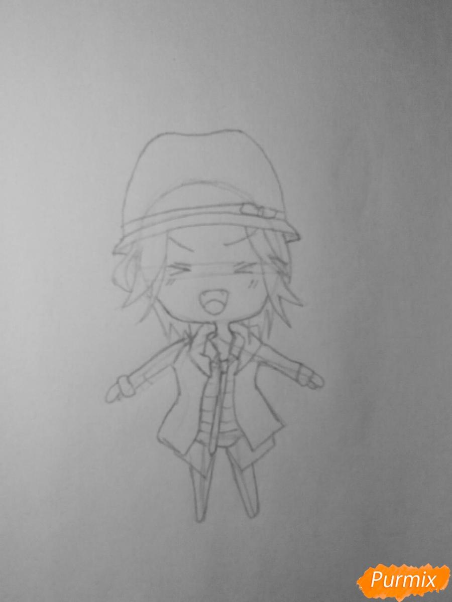 Рисуем Райто Сакамаки в стиле чиби - шаг 3