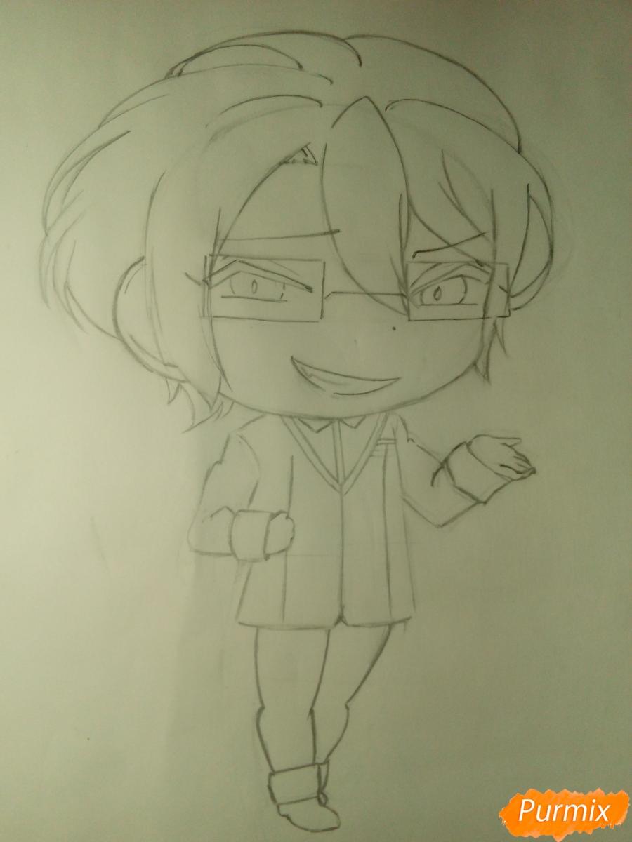 Рисуем Рейджи Сакамаки в стиле чиби - шаг 7