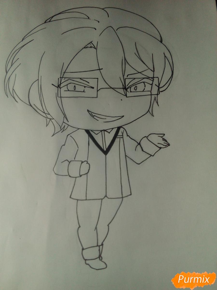 Рисуем Рейджи Сакамаки в стиле чиби - шаг 8