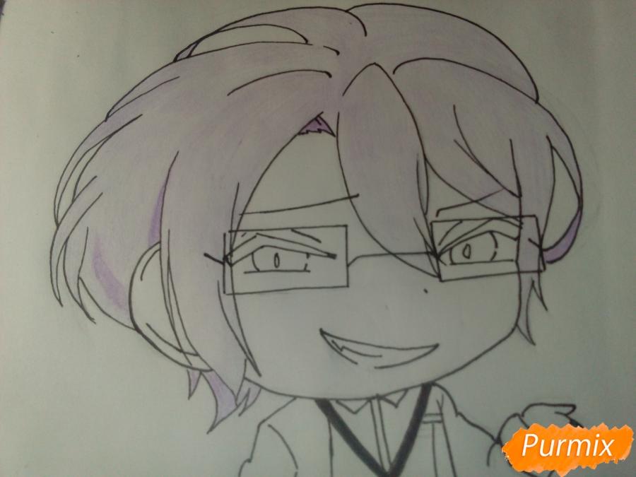Рисуем Рейджи Сакамаки в стиле чиби - шаг 9