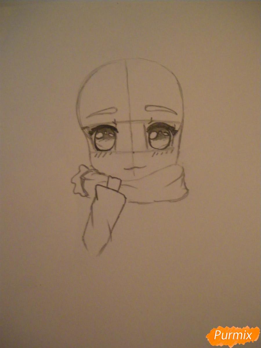 Рисуем рыжую чиби девочку с шарфиком карандашами - шаг 2