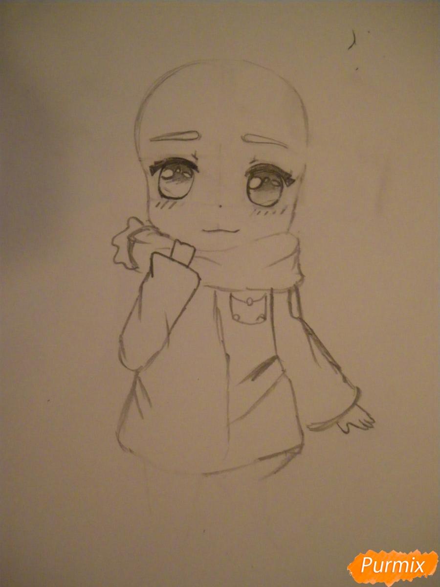 Рисуем рыжую чиби девочку с шарфиком карандашами - шаг 3
