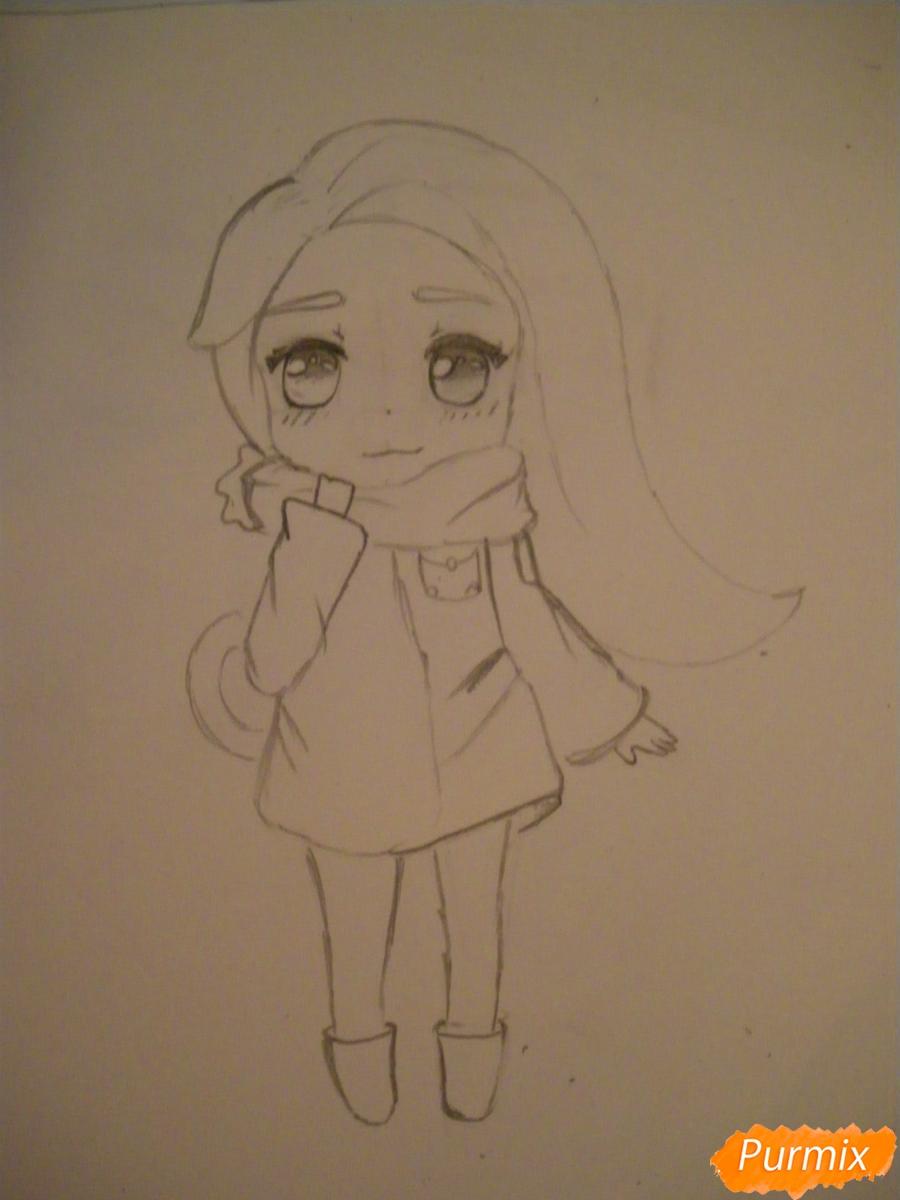 Рисуем рыжую чиби девочку с шарфиком карандашами - шаг 5