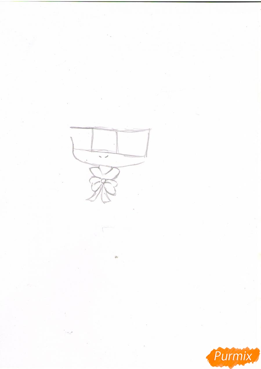 Рисуем рыжую чиби девочку в шапке цветными карандашами - шаг 1
