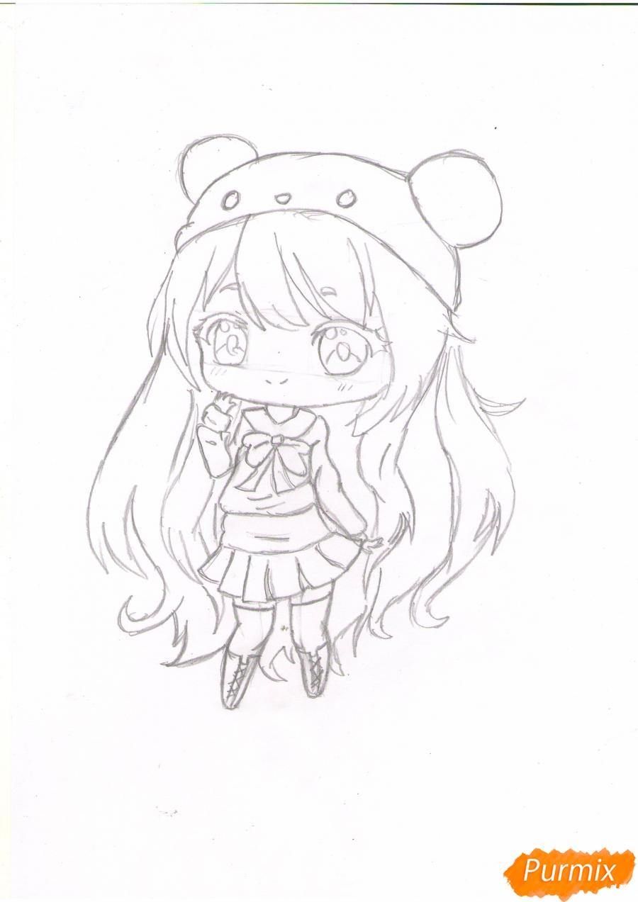 Рисуем рыжую чиби девочку в шапке цветными карандашами - шаг 5
