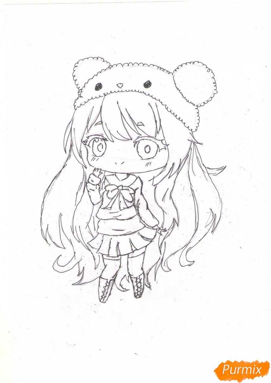 Рисуем рыжую чиби девочку в шапке цветными карандашами - шаг 6