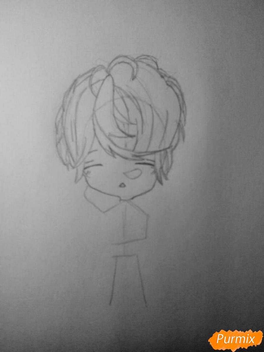 Рисуем Шу Сакамаки в стиле чиби - шаг 2