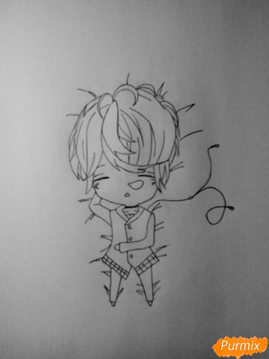 Рисуем Шу Сакамаки в стиле чиби - шаг 4