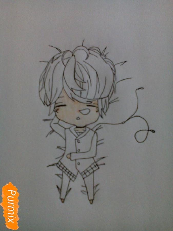 Рисуем Шу Сакамаки в стиле чиби - шаг 5