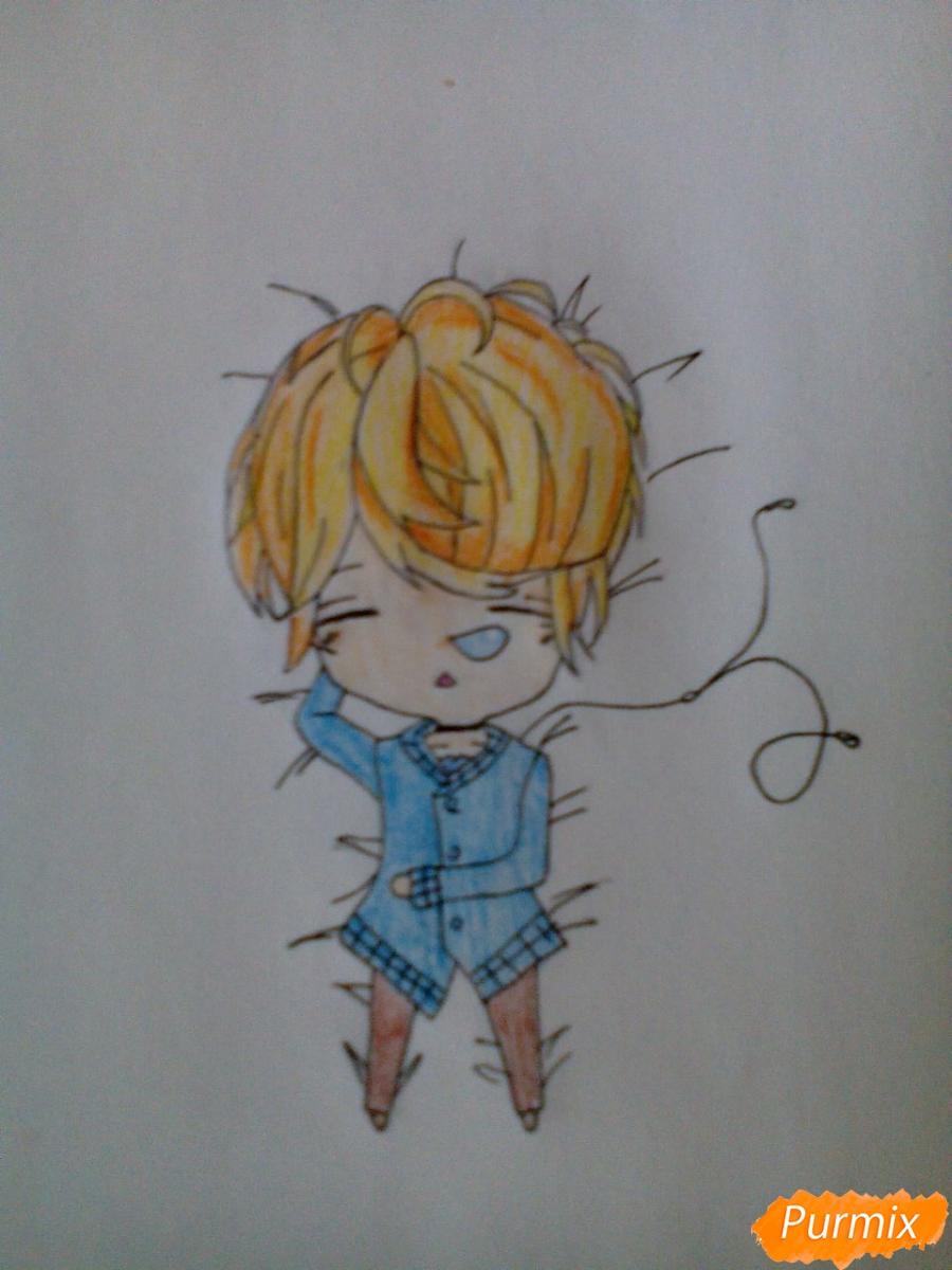 Рисуем Шу Сакамаки в стиле чиби - шаг 7