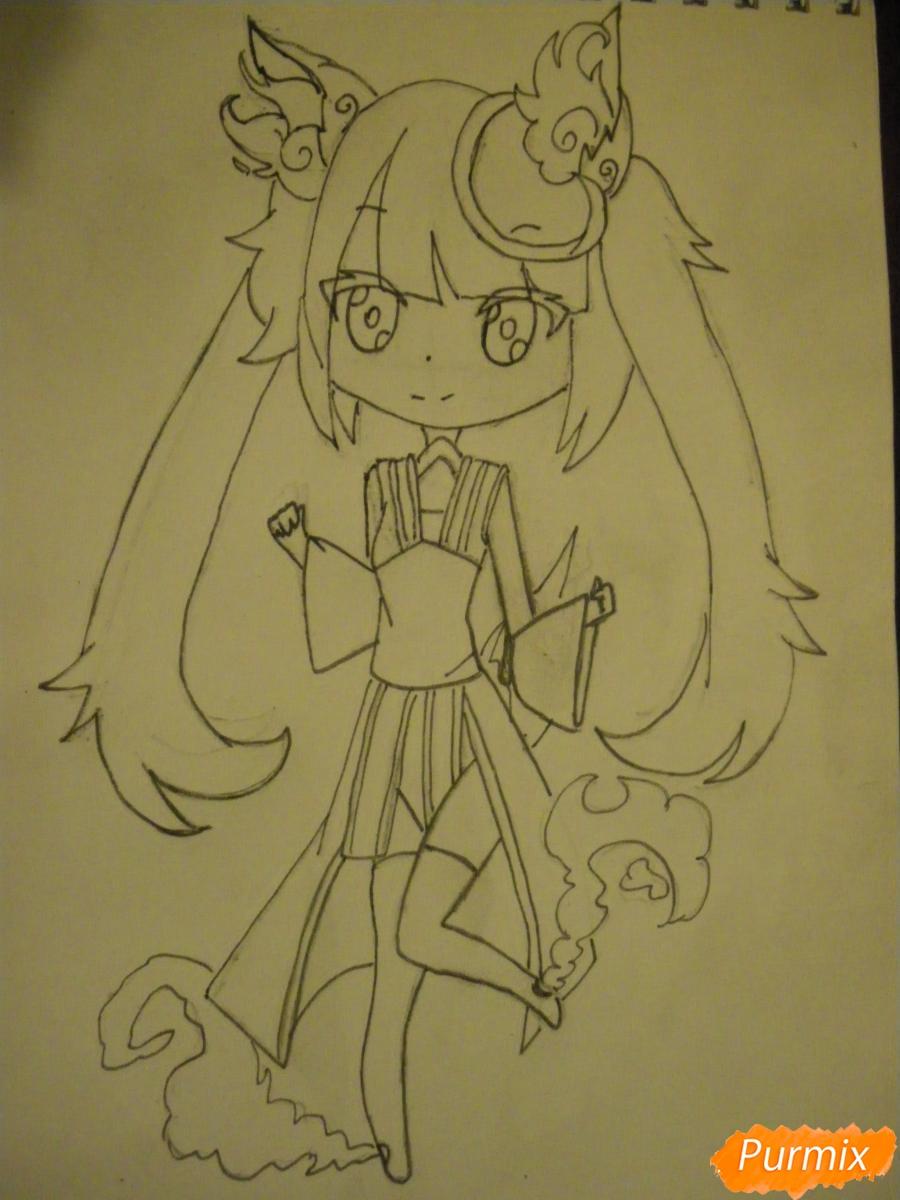 Рисуем синюю девочку лисицу в стиле чиби карандашами - шаг 10