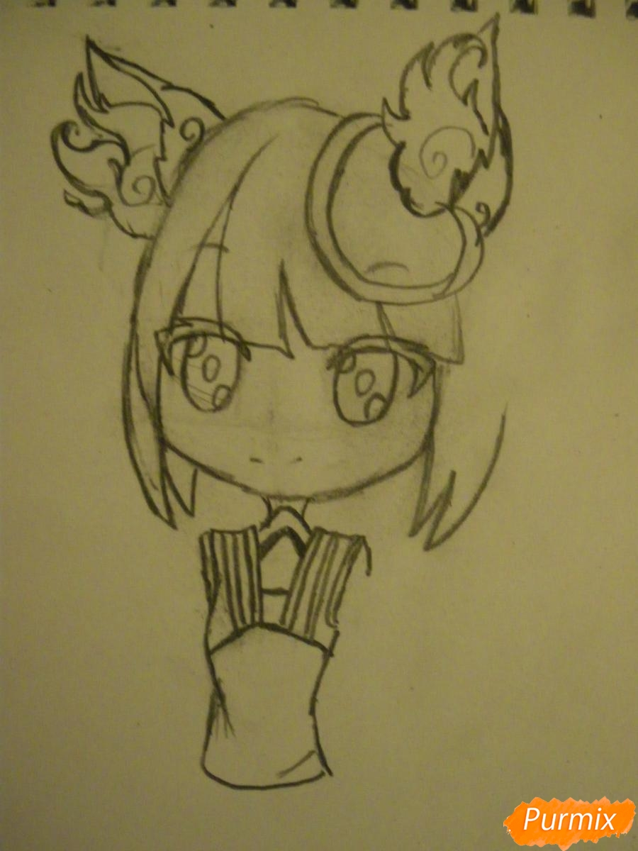 Рисуем синюю девочку лисицу в стиле чиби карандашами - шаг 5