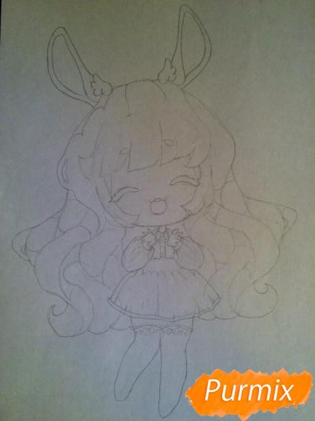 Рисуем тян c ушками в стиле чиби карандашами - шаг 6