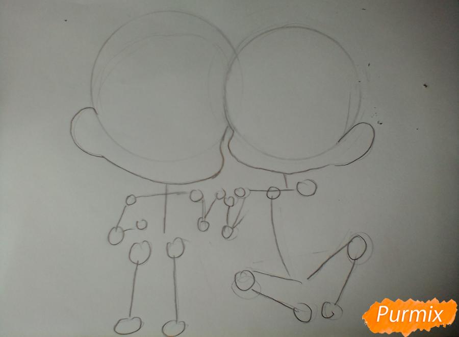 Рисуем и раскрасить Уэнояму и Мафую в стиле чиби - шаг 1