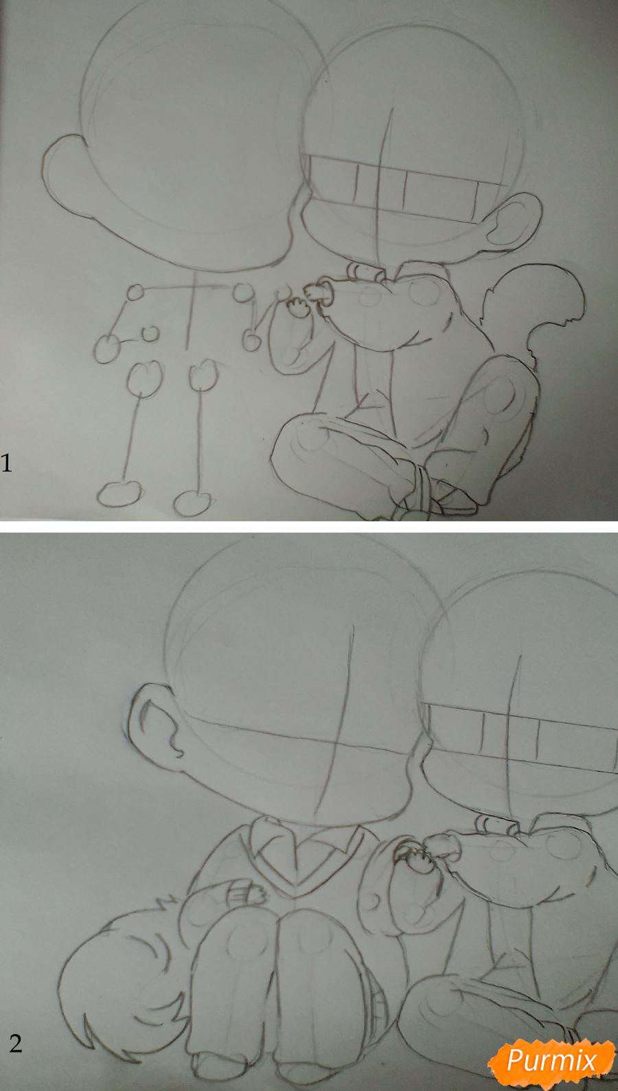 Рисуем и раскрасить Уэнояму и Мафую в стиле чиби - шаг 2