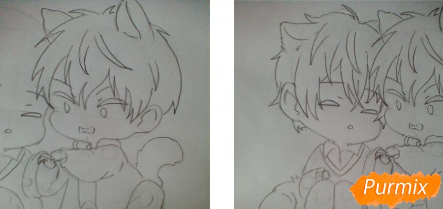 Рисуем и раскрасить Уэнояму и Мафую в стиле чиби - шаг 4