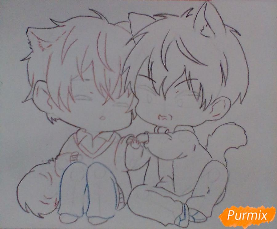 Рисуем и раскрасить Уэнояму и Мафую в стиле чиби - шаг 5