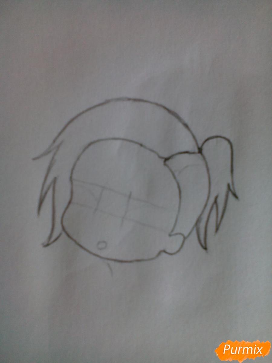Рисуем Уту в стиле чиби из аниме Токийский гуль карандашами - шаг 3