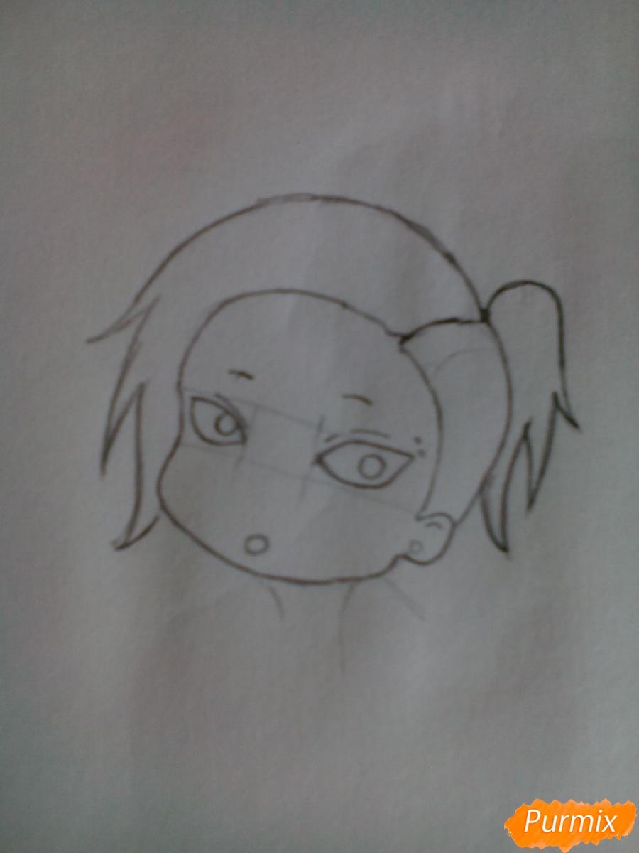 Рисуем Уту в стиле чиби из аниме Токийский гуль карандашами - шаг 4