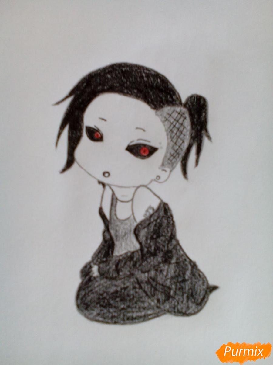 Рисуем Уту в стиле чиби из аниме Токийский гуль карандашами - шаг 9