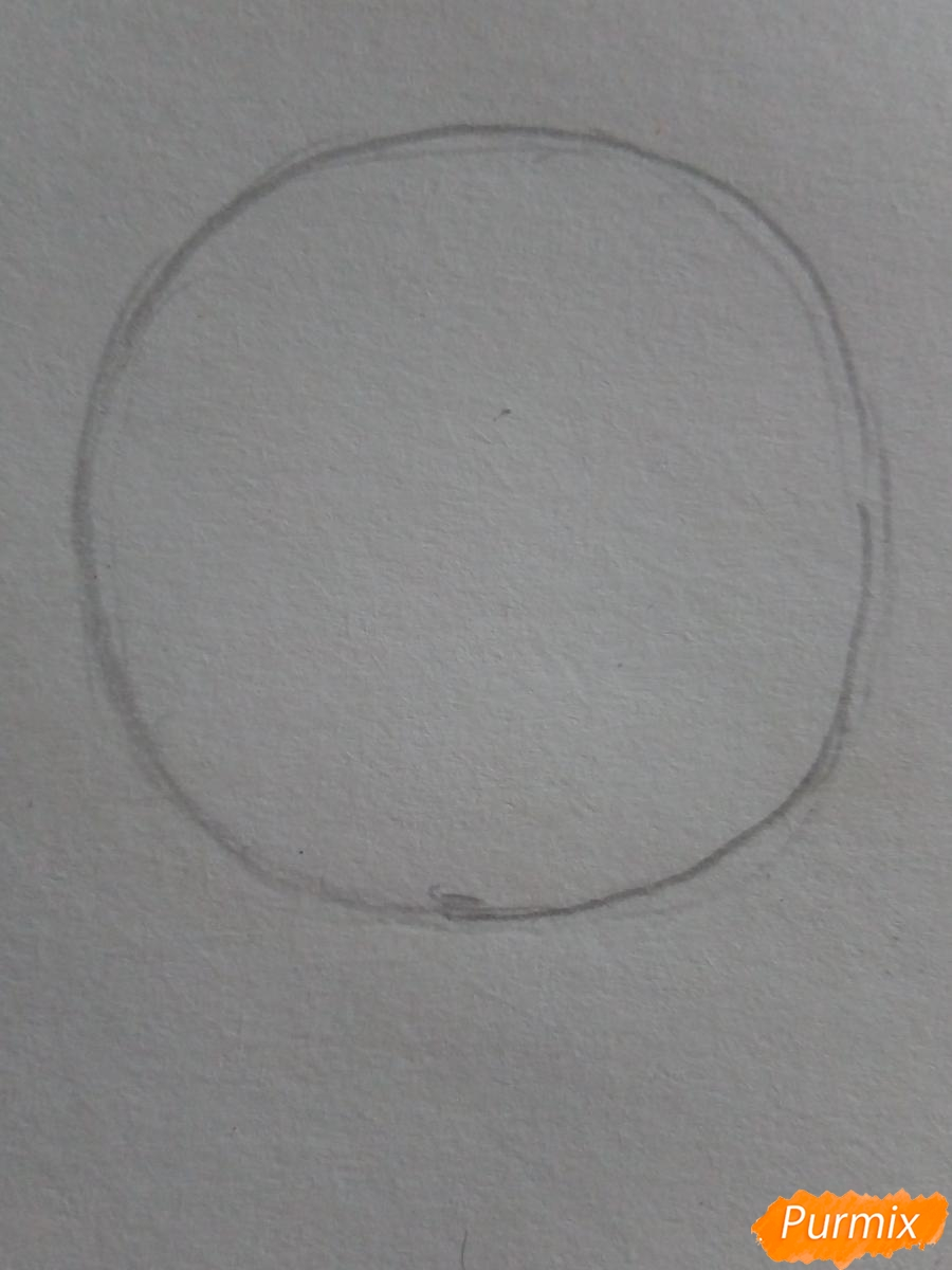 Рисуем знак зодиака рак в стиле чиби карандашами - шаг 1