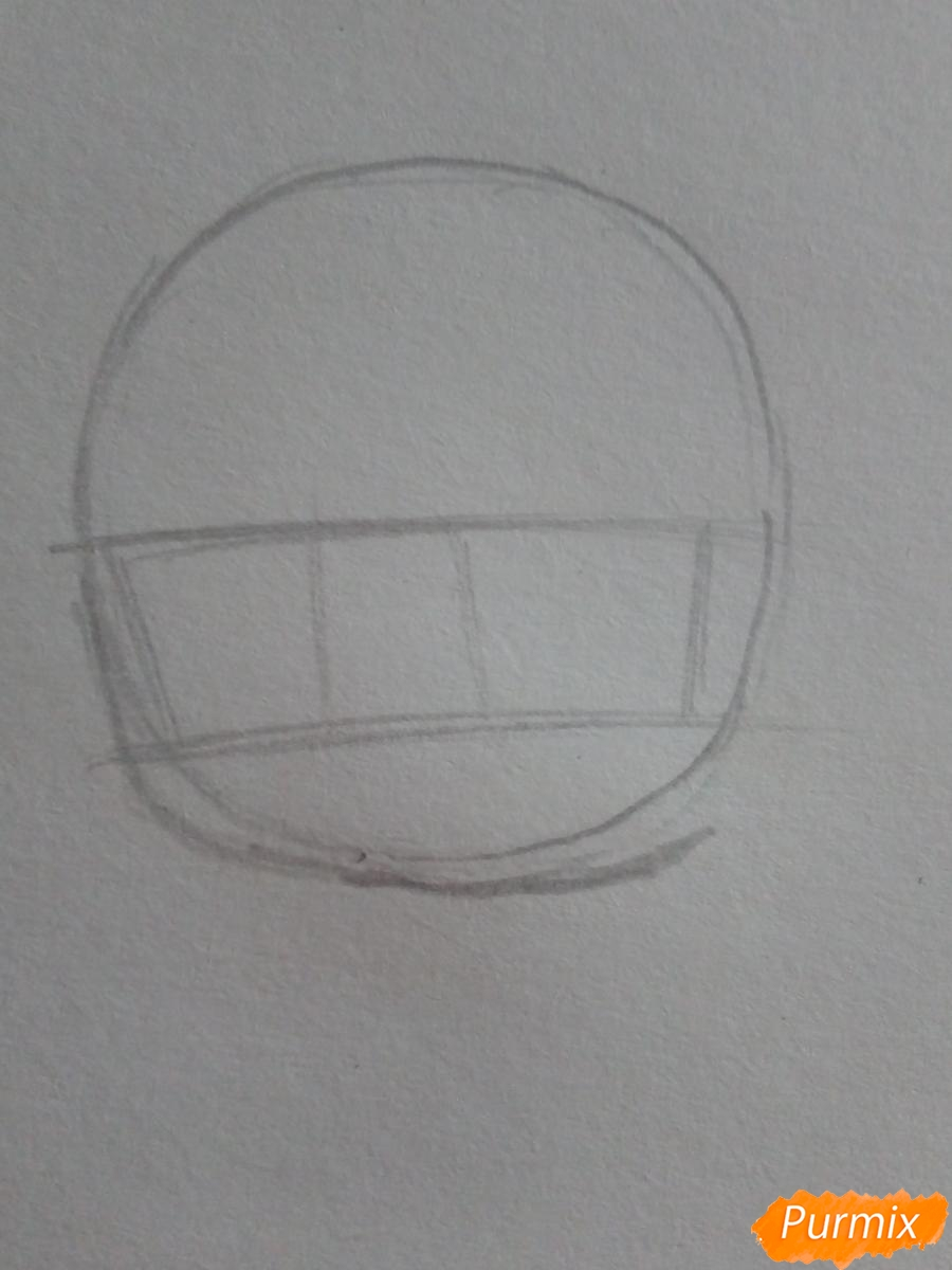 Рисуем знак зодиака рак в стиле чиби карандашами - шаг 2