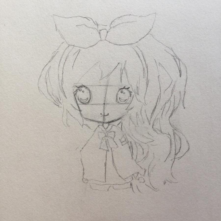Рисуем чиби - девочку с бантиком - шаг 3