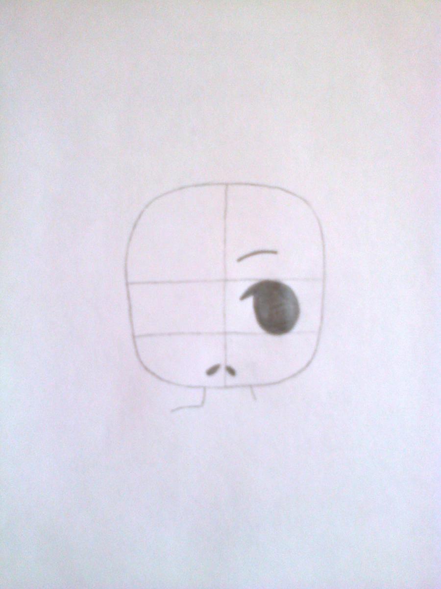 Рисуем чиби-девочку в костюме панды простыми карандашами - шаг 2